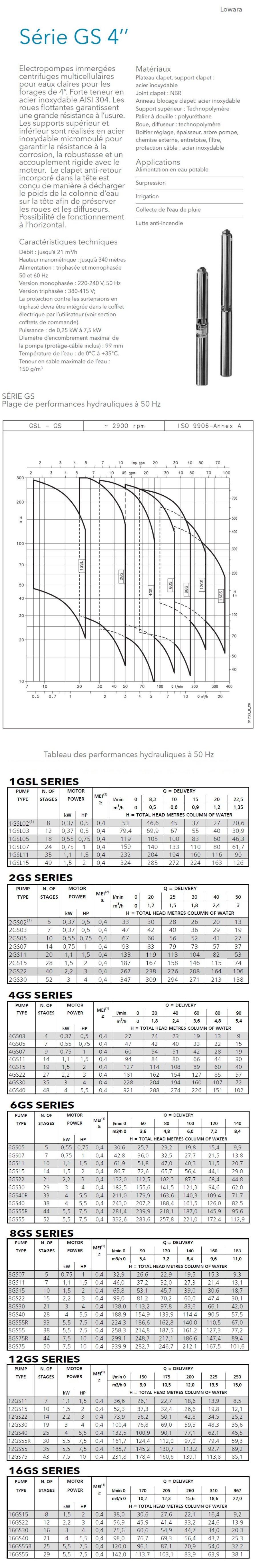 Fiche technique Lowara 4GS11M